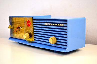 Sweet Baby Blue Bi-level 1957 Motorola 57CD Tube AM Clock Radio