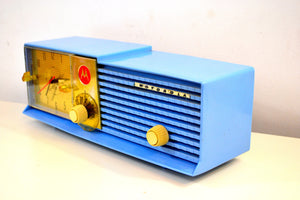 SOLD! - Mar 31, 2019 - Sweet Baby Blue Bi-level 1957 Motorola 57CD Tube AM Clock Radio