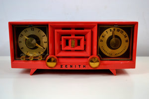 SOLD! - Dec 7, 2018 - Hot Pink Vintage 1955 Zenith R519V AM Tube Clock Radio Works and Looks Great! - [product_type} - Zenith - Retro Radio Farm
