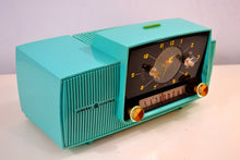 Load image into Gallery viewer, SOLD! - Nov 26, 2018 - True Turquoise 1957 General Electric Model 912D Tube AM Clock Radio