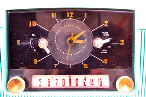 SOLD! - Nov 26, 2018 - True Turquoise 1957 General Electric Model 912D Tube AM Clock Radio