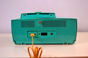 SOLD! - Nov 26, 2018 - True Turquoise 1957 General Electric Model 912D Tube AM Clock Radio - [product_type} - General Electric - Retro Radio Farm