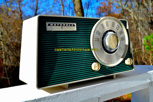 SOLD! - Dec 9, 2017 - HUNTER GREEN Mid Century Vintage 1962 Motorola Model A24N AM Tube Radio Sounds Great! - [product_type} - Motorola - Retro Radio Farm