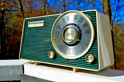 SOLD! - Dec 9, 2017 - HUNTER GREEN Mid Century Vintage 1962 Motorola Model A24N AM Tube Radio Sounds Great!