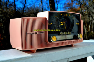 SOLD! - Jan. 5, 2018 - ROSE PINK Mid Century Jetsons 1959 General Electric Model 915 Tube AM Clock Radio Totally Restored! - [product_type} - General Electric - Retro Radio Farm