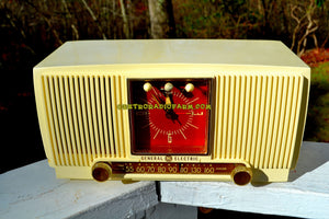 SOLD! - Dec 9, 2017 - BLUETOOTH MP3 READY Ivory Vanilla 1955 General Electric Model 573 Retro AM Clock Radio Works Great! - [product_type} - General Electric - Retro Radio Farm