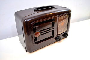 Umber Brown Bakelite 1946 Emerson Model 507 AM Tube Radio Golden Age of Radio Beauty! - [product_type} - Emerson - Retro Radio Farm