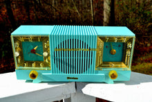 Load image into Gallery viewer, SOLD! - May 4, 2018 - CELESTE BLUE Mid Century 1952 Firestone Model 4-A-127 Tube AM Radio Cool Model Rare Color!