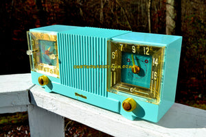 SOLD! - May 4, 2018 - CELESTE BLUE Mid Century 1952 Firestone Model 4-A-127 Tube AM Radio Cool Model Rare Color!