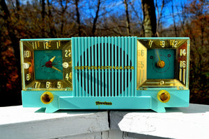 SOLD! - May 4, 2018 - CELESTE BLUE Mid Century 1952 Firestone Model 4-A-127 Tube AM Radio Cool Model Rare Color! - [product_type} - Firestone - Retro Radio Farm