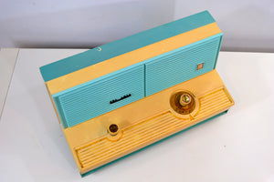 SOLD! - Nov. 25, 2018 - Mermaid Turquoise Vintage 1960 Sylvania Model 5C12 AM Radio - [product_type} - Sylvania - Retro Radio Farm