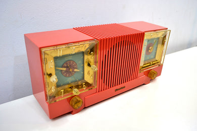 Salmon Pink 1952 Firestone Model 4-A-127 Vintage AM Radio Fantastic Catch!