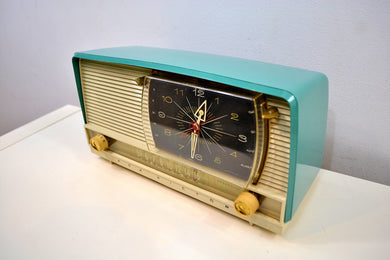 SOLD! - Dec 27, 2019 - Turquoise and White 1959 RCA Victor 9-C-7LE Tube AM Clock Radio Works Great!