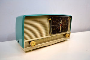 SOLD! - Dec 27, 2019 - Turquoise and White 1959 RCA Victor 9-C-7LE Tube AM Clock Radio Works Great! - [product_type} - RCA Victor - Retro Radio Farm