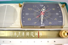 Load image into Gallery viewer, SOLD! - Dec 27, 2019 - Turquoise and White 1959 RCA Victor 9-C-7LE Tube AM Clock Radio Works Great! - [product_type} - RCA Victor - Retro Radio Farm