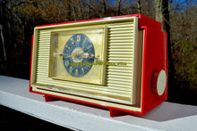 Load image into Gallery viewer, Varsity Red and White Mid Century Vintage Retro 1959 General Electric GE Model 941 Tube AM Clock Radio Totally Restored!
