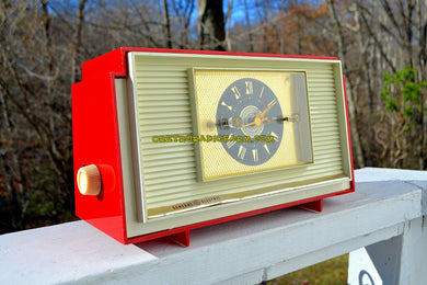 SOLD! - Dec 14, 2018 - Varsity Red and White Mid Century Vintage Retro 1959 General Electric GE Model 941 Tube AM Clock Radio Totally Restored! - [product_type} - General Electric - Retro Radio Farm