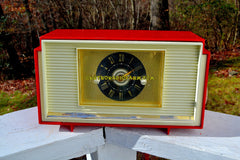 VARSITY RED AND WHITE Mid Century Vintage Retro 1959 General Electric GE Model 941 Tube AM Clock Radio Totally Restored!
