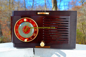 SOLD! - Nov 27, 2017 - BLUETOOTH MP3 READY - Art Deco 1952 General Electric Model 66 AM Brown Bakelite Tube Clock Radio Totally Restored! - [product_type} - General Electric - Retro Radio Farm