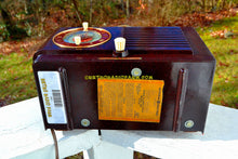 Load image into Gallery viewer, SOLD! - Nov 27, 2017 - BLUETOOTH MP3 READY - Art Deco 1952 General Electric Model 66 AM Brown Bakelite Tube Clock Radio Totally Restored!