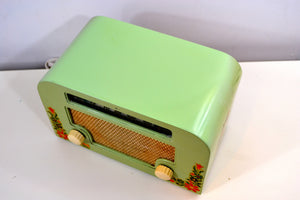 SOLD! - Dec 10, 2018 - Country Cottage Green 1940 Motorola 55x15 Tube AM Radio Original Factory Quaint Design! - [product_type} - Motorola - Retro Radio Farm