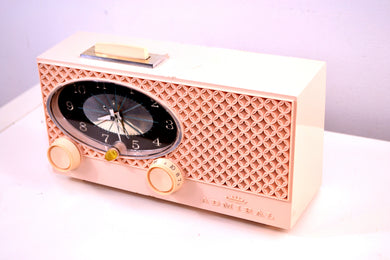 Pink Lace 1959 Admiral Y3354 Antique Tube AM Clock Radio - [product_type} - Admiral - Retro Radio Farm