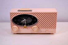 Load image into Gallery viewer, Pink Lace 1959 Admiral Y3354 Antique Tube AM Clock Radio - [product_type} - Admiral - Retro Radio Farm