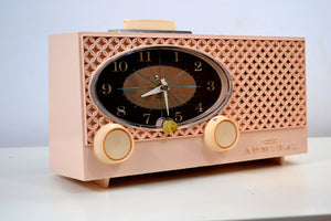 SOLD! - July 16, 2019 - Pink Lace 1959 Admiral Y3354 Antique Tube AM Clock Radio - [product_type} - Admiral - Retro Radio Farm