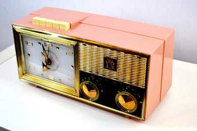 Princess Pink 1962 Bulova Model 180 Tube AM Clock Radio Sweet! - [product_type} - Bulova - Retro Radio Farm