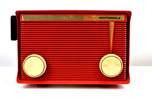 SOLD! - March 13, 2019 - Bluetooth MP3 Ready - Apple Red 1959 Motorola Model A1R-15 Tube AM Radio - [product_type} - Motorola - Retro Radio Farm