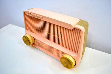 Cotillion Pink and Gold 1959 Motorola Model 5T13P Vacuum Tube AM Radio Sounds and Looks Heavenly!
