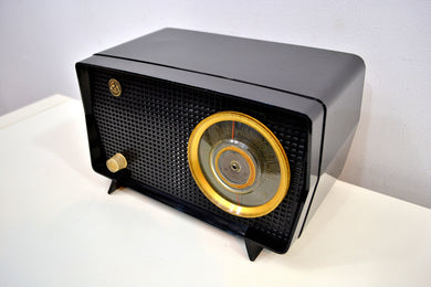 SOLD! - Dec 2, 2019 - Obsidian Black Mid Century Vintage 1956 RCA Victor Model 6-X-7 Vacuum Tube AM Radio Snazzy Looking and Sweet Sounding!