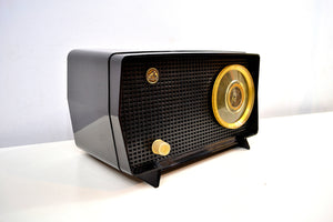SOLD! - Dec 2, 2019 - Obsidian Black Mid Century Vintage 1956 RCA Victor Model 6-X-7 Vacuum Tube AM Radio Snazzy Looking and Sweet Sounding! - [product_type} - RCA Victor - Retro Radio Farm