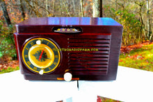 Load image into Gallery viewer, SOLD! - Nov 30, 2017 - BLUETOOTH MP3 READY - Brown Swirly Mid Century Vintage 1952 General Electric Model 514 AM Brown Bakelite Tube Clock Radio Looks and Sounds Great!