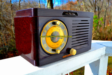 SOLD! - Nov 30, 2017 - BLUETOOTH MP3 READY - Brown Swirly Mid Century Vintage 1952 General Electric Model 514 AM Brown Bakelite Tube Clock Radio Looks and Sounds Great! - [product_type} - General Electric - Retro Radio Farm