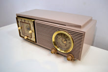 Load image into Gallery viewer, SOLD! - Dec 1, 2019 - Taro Taupe Mauve Mid Century 1953 Philco Model 53-702 Transitone AM Civil Service Clock Radio Sleek Looking! - [product_type} - Philco - Retro Radio Farm