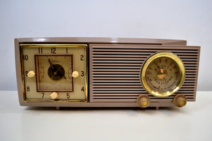 SOLD! - Dec 1, 2019 - Taro Taupe Mauve Mid Century 1953 Philco Model 53-702 Transitone AM Civil Service Clock Radio Sleek Looking! - [product_type} - Philco - Retro Radio Farm