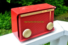 SOLD! - Aug 14, 2017 - BLUETOOTH MP3 READY - APPLE RED Retro Vintage 1959 Motorola Model A1R-15 Tube AM Clock Radio Totally Restored!
