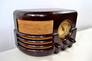 SOLD! - Jan 26, 2020 - Espresso Marble Brown Bakelite 1937 Majestic Model 651 AM Vacuum Tube Radio Real Jawdropper! - [product_type} - Majestic - Retro Radio Farm