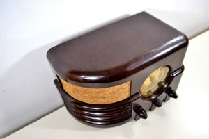 Espresso Marble Brown Bakelite 1937 Majestic Model 651 AM Vacuum Tube Radio Real Jawdropper!