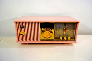 SOLD! - Jan. 8, 2020 - Marilyn Pink 1957 Motorola Model 56CD3 Vacuum Tube AM Clock Radio Excellent Condition Sounds Great! - [product_type} - Motorola - Retro Radio Farm