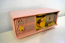 Load image into Gallery viewer, Marilyn Pink 1957 Motorola Model 56CD3 Vacuum Tube AM Clock Radio Excellent Condition Sounds Great!
