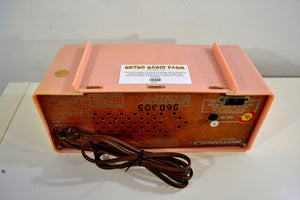 SOLD! - Jan. 8, 2020 - Marilyn Pink 1957 Motorola Model 56CD3 Vacuum Tube AM Clock Radio Excellent Condition Sounds Great!