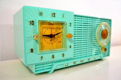 Azure Blue Mid Century Vintage 1959 Jewel Unknown Model Vacuum Tube AM Clock Radio Such A Beauty!