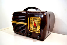 Load image into Gallery viewer, SOLD! - Dec. 4, 2019 - Nutmeg Brown Swirl Bakelite 1940 Motorola Model 60X1 Vacuum Tube AM Radio Deco Looks with a Sweet Sound!