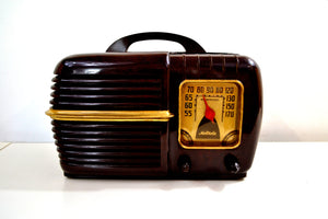 SOLD! - Dec. 4, 2019 - Nutmeg Brown Swirl Bakelite 1940 Motorola Model 60X1 Vacuum Tube AM Radio Deco Looks with a Sweet Sound!