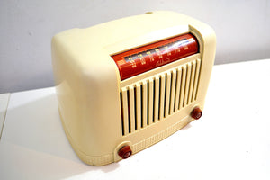 Tusk Ivory Art Deco Industrial 1946 Addison Model 55 Bakelite AM Vacuum Tube Radio with Toaster Envy! - [product_type} - Addison - Retro Radio Farm