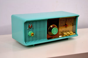 SOLD! - Jan 12, 2019 - Turquoise 1956 Motorola 56CD Tube AM Clock Radio - [product_type} - Motorola - Retro Radio Farm