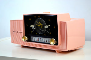 SOLD! - Dec 5, 2018 - Rose Pink 1957 General Electric Model 912D Tube AM Clock Radio - [product_type} - General Electric - Retro Radio Farm