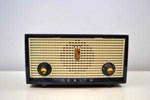 SOLD! - Dec 16, 2019 - Slate Blue Grey Vintage 1957 Zenith A508B AM Tube Radio Little Sound Blaster! - [product_type} - Zenith - Retro Radio Farm